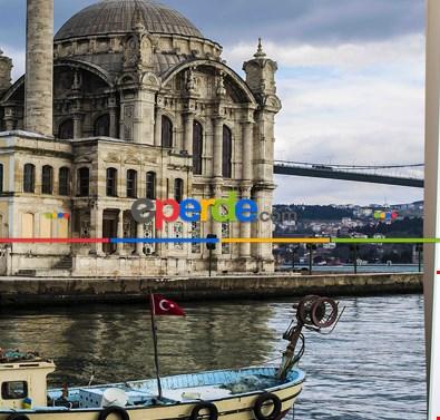 Ortaköy İstanbul Cami Resimli Fon Perde Takılmaya Hazır 2 Kanat - Kumaşı Kalındır- Güneş Işığını Azaltır 260cm X 270cm
