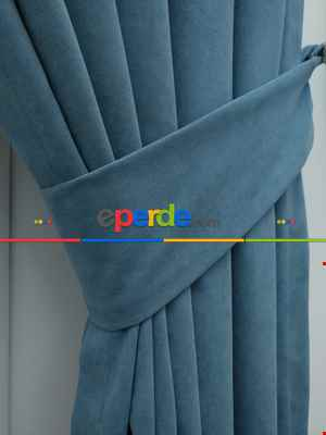 Mavi - Düz Fon Perde- Mavi