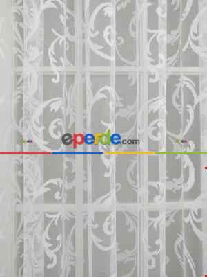 Sarmaşık Desenli Tül Perde- Ekru
