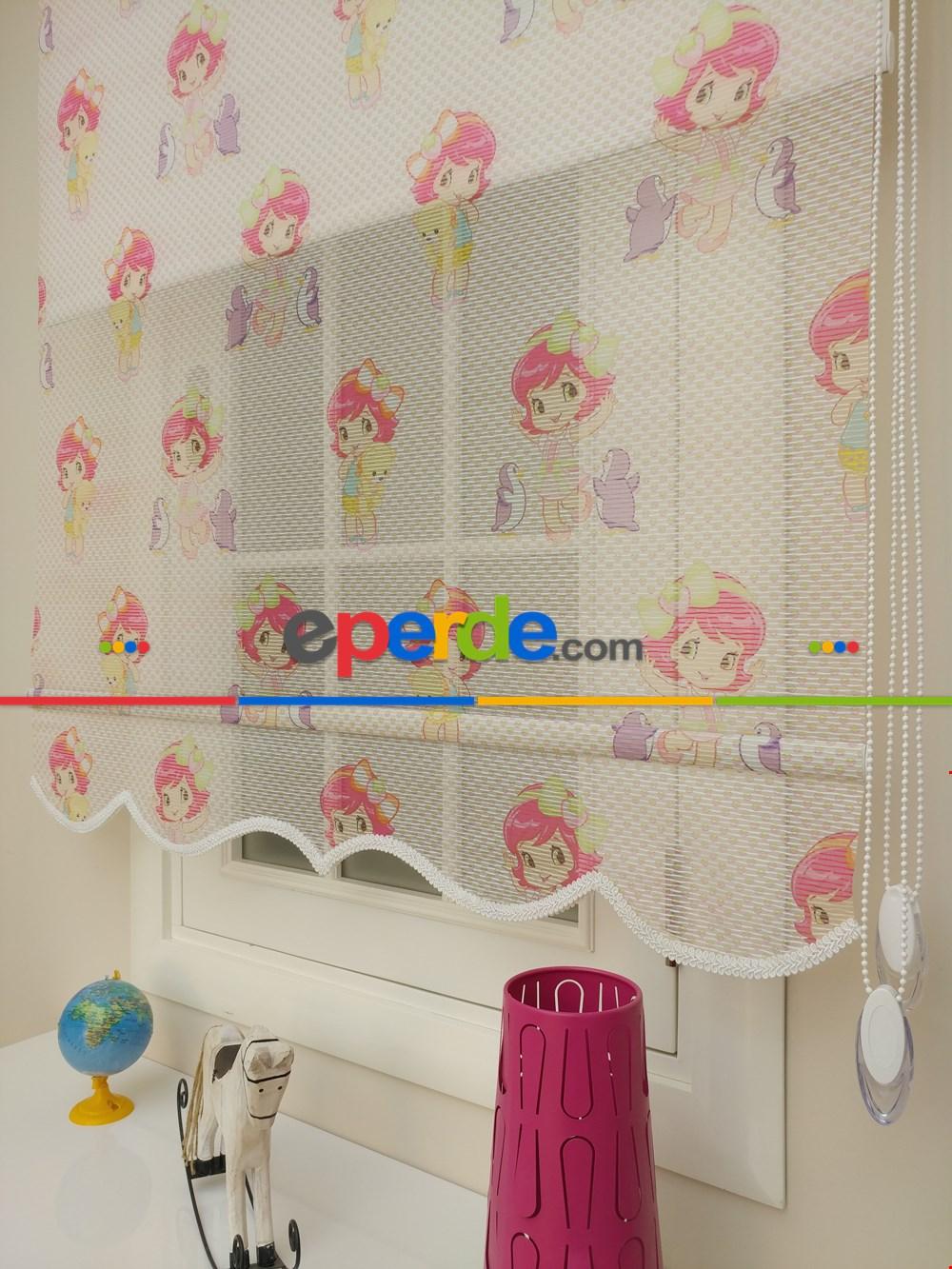 Çocuk Odası Perde - Çiftli Sistem Tül Stor Perde- Beyaz