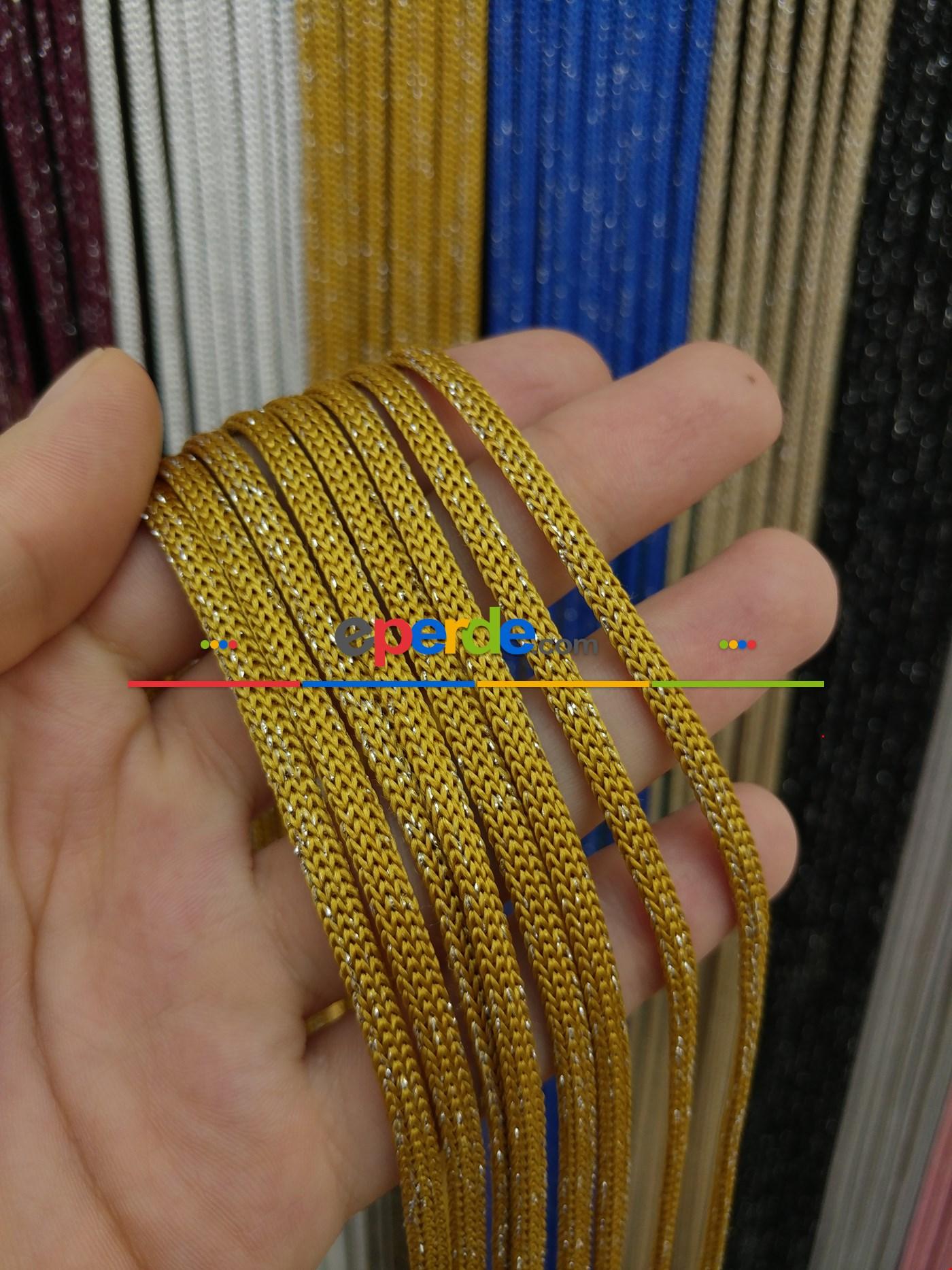Gri Rengi Simli İp Perde Jumbo Zincir Serisi Sarı - Gümüş