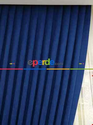 Parlement Mavi Düz Sade Fon Perde Dökümlü ( En 150cm Dökümlü Fon)- Saks Mavi