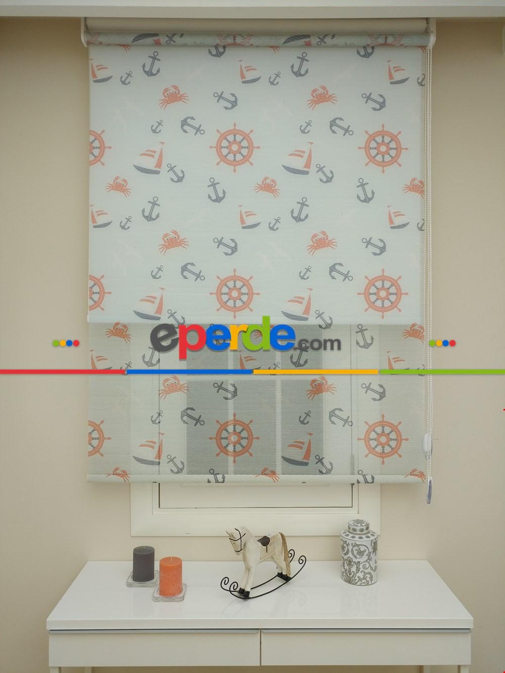 Çocuk Odası Çiftli Sistem Tül Stor Perde Çizgili Boğma Tül (mavi Renk)- Mavi Açık 110cm X 200cm