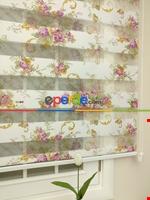Zebra Perde - Çiçek Baskılı Çocuk Ve Genç Odası Lila Açık Lila