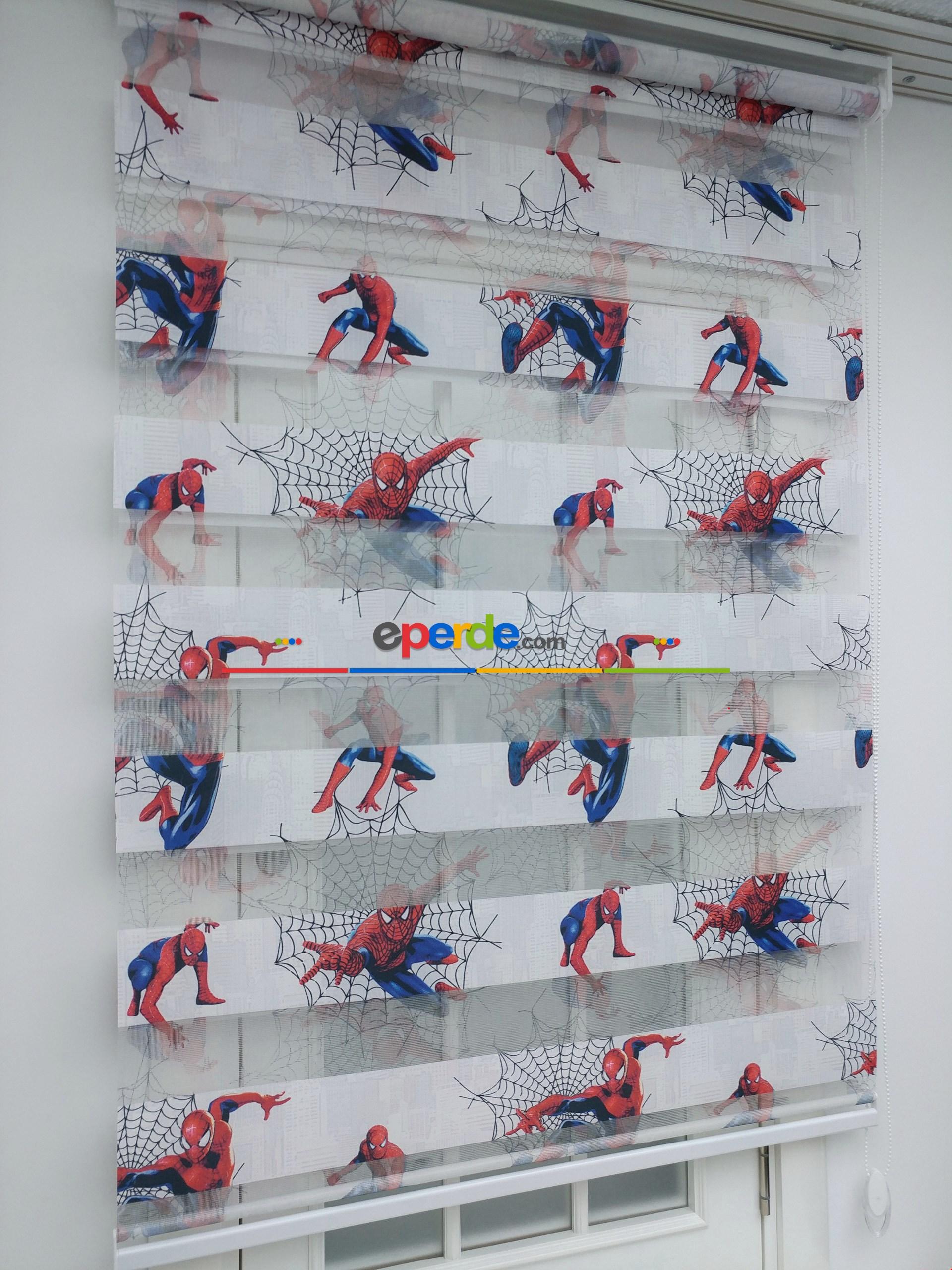 Spiderman Desenli Erkek Çocuk Zebra Perde