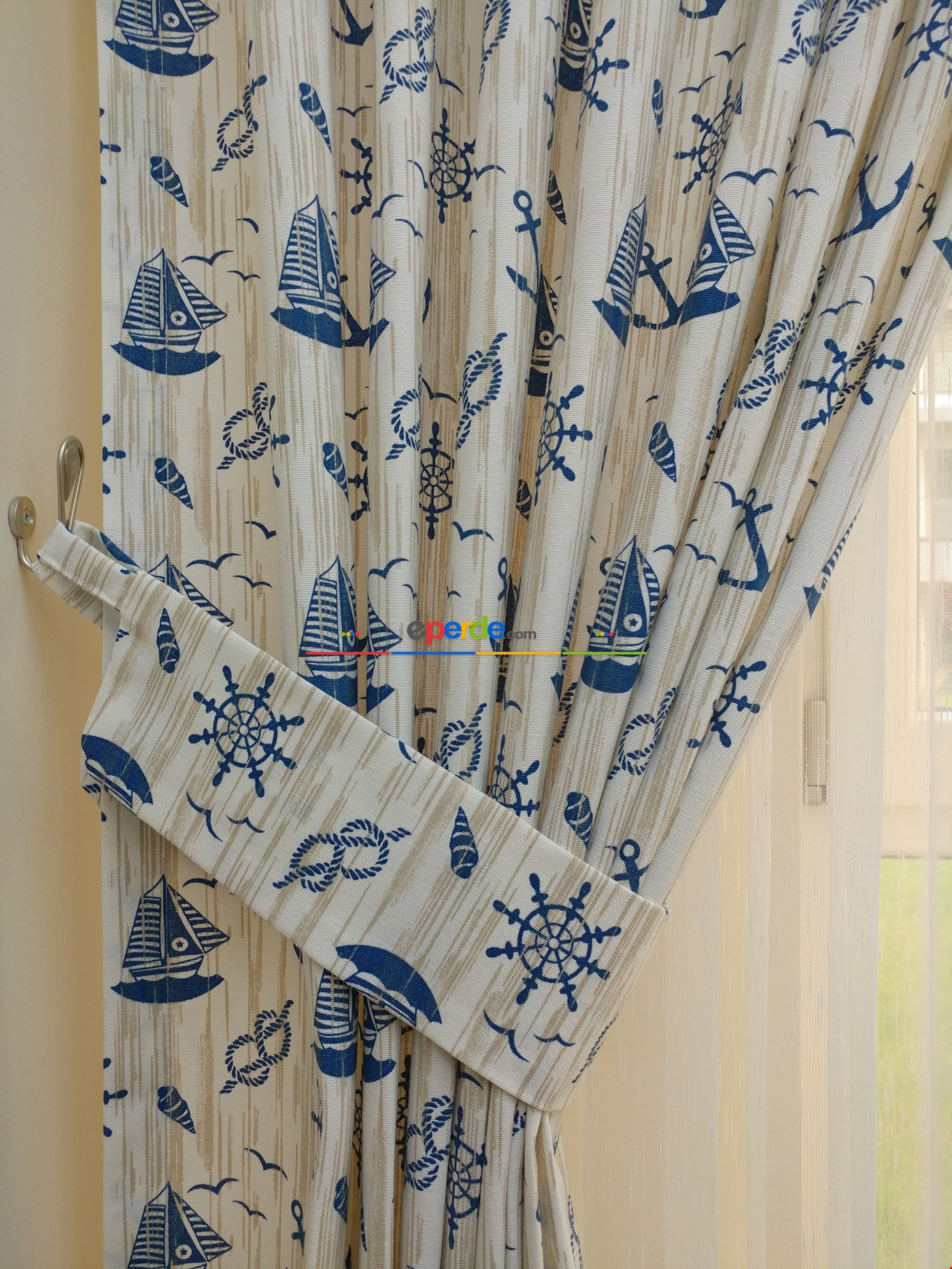 Desenli Fon Perde - Denizci Mavi (leke Tutmaz)