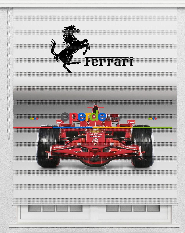 Ferrari Erkek Çocuk Odası Perde Baskılı Zebra Perde