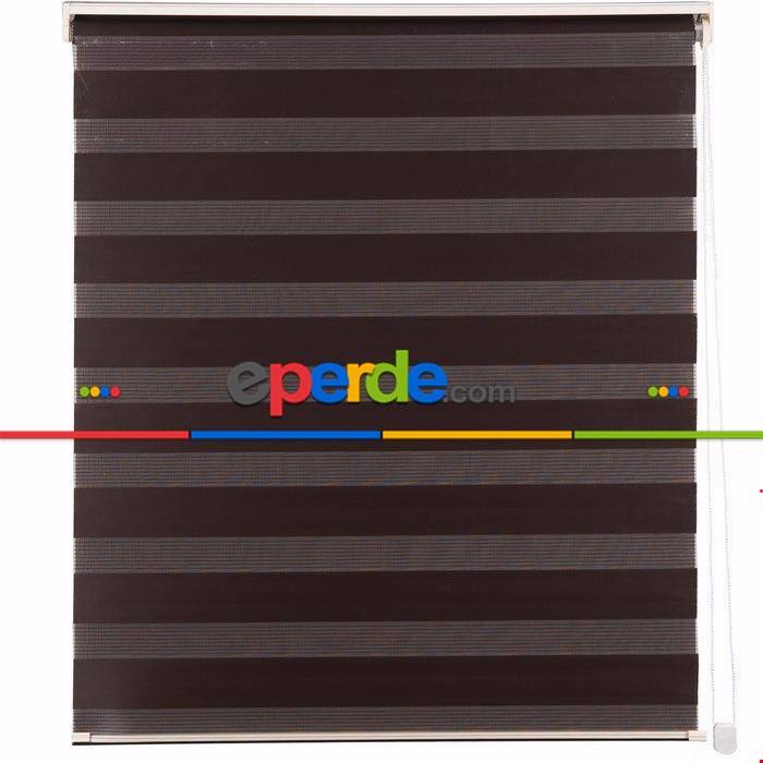 Kahverengi Düz Zebra Perde 60x200cm