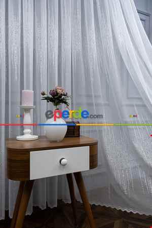 Salon Odası- Liva Gold Örme Tül Perde- Ekru