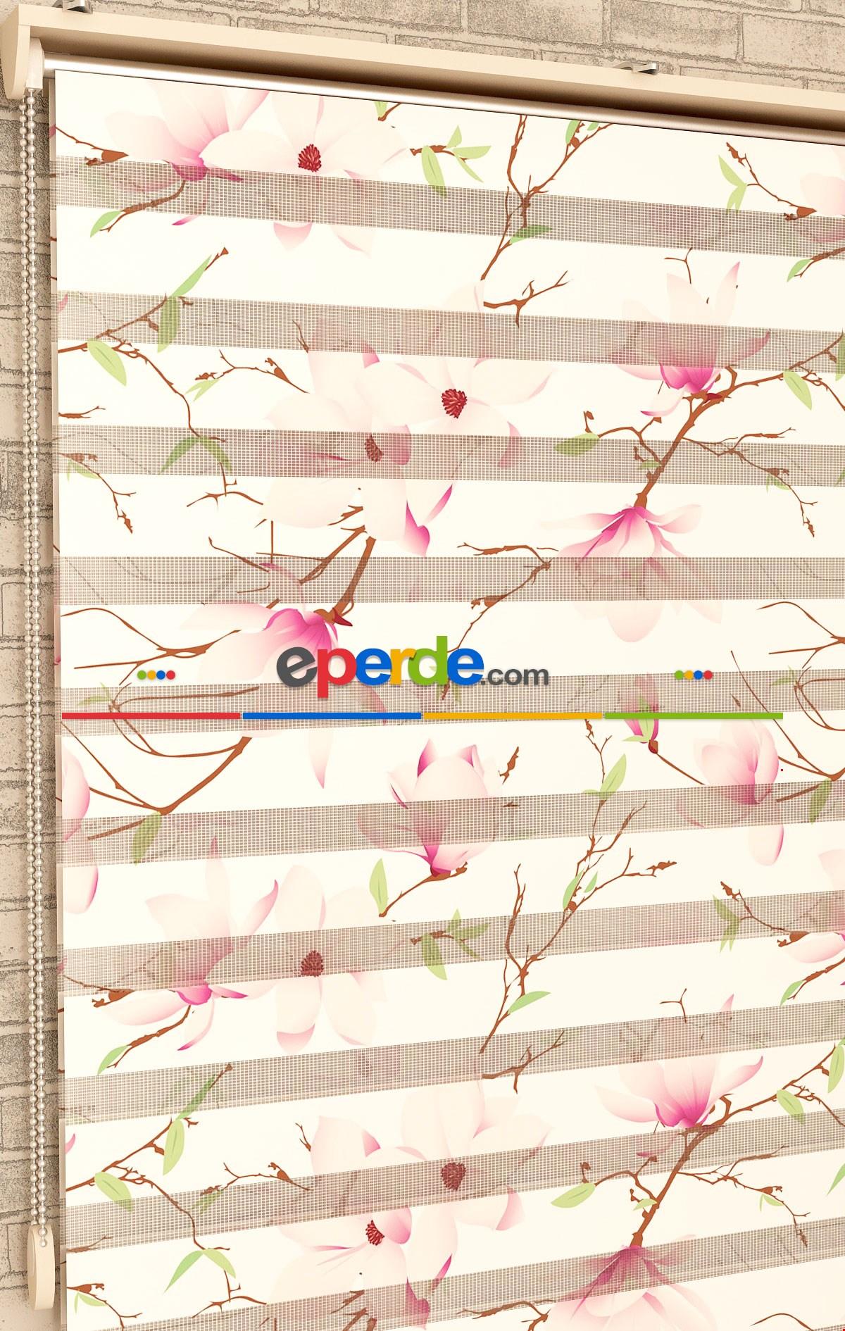Pembe Çiçek Desen - Baskılı Zebra Perde