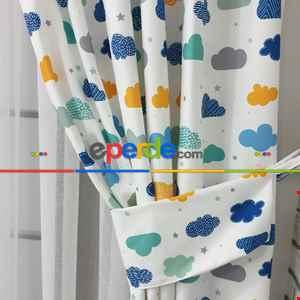 Renkli Bulut Desenli Fon Perde Evm809 Kumaşı Kalındır Duck Bezi Değildir- Beyaz-Mavi Açık