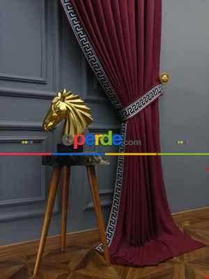 Salon Perdesi - Modern Bordürlü Salon Fon Perdesi İkon 2021 Elıte- Lacivert