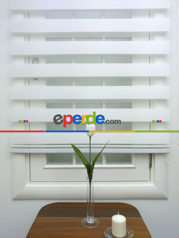 Zebra Perde- Batik Kırık Beyaz Renk Bambu Zebra Perde (kalın Zeminli)
