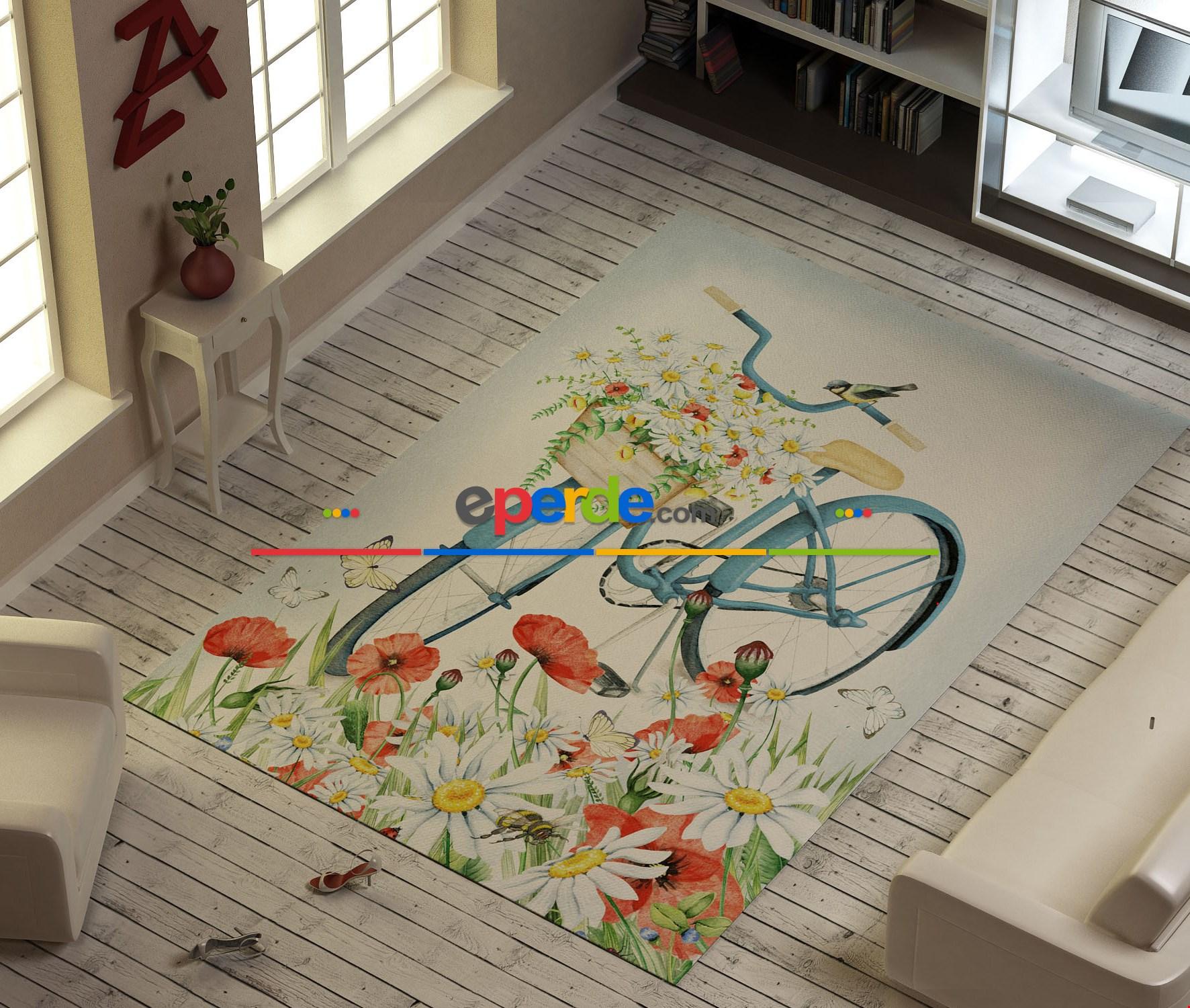 Bisiklet Ve Çiçekler Vektör Baskılı Halı