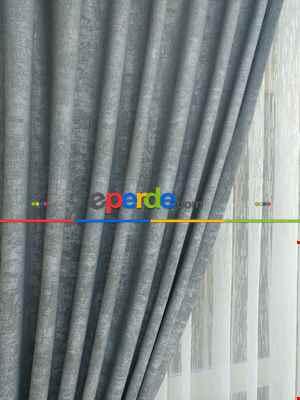 Gri - Düz Jakar Fon Perde (280)- Gri-füme-antrasit