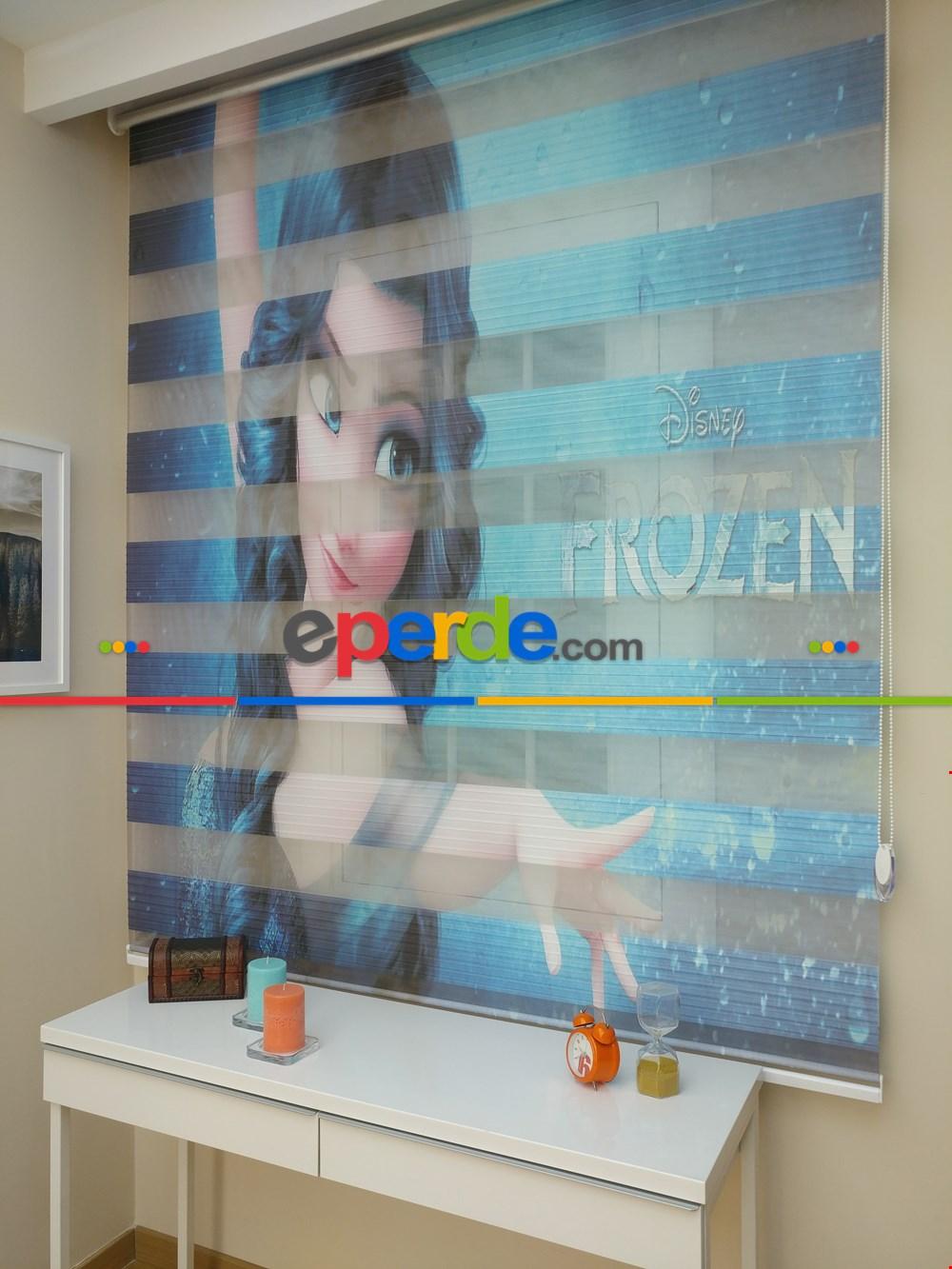Frozen Elsa Anna Zebra Perde - Kız Çocuk Perdesi