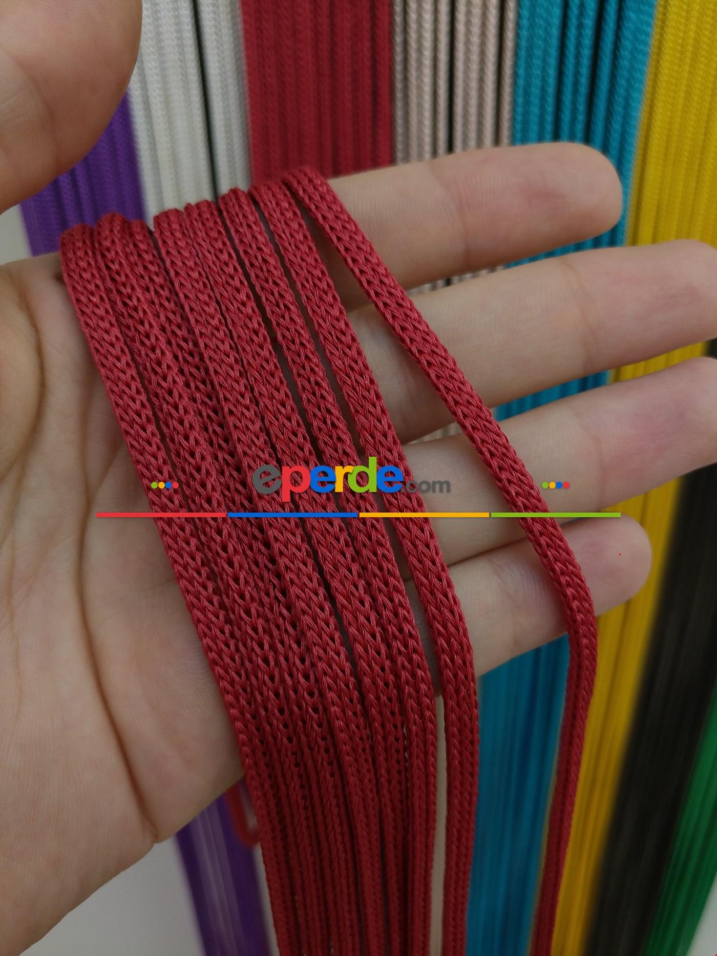 Gri Rengi İp Perde Jumbo Zincir Serisi Kırmızı