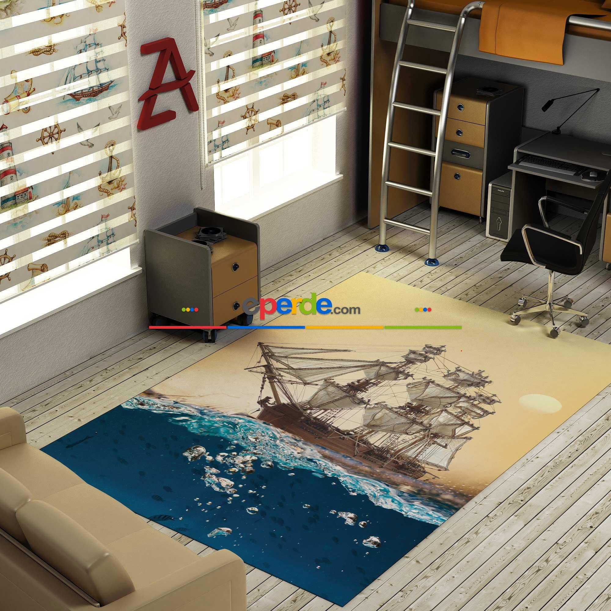 Yelkenli Gemi Baskılı Halı