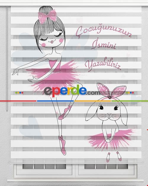 Balerin Ve Tavşan Özel Poster Baskılı Zebra Perde