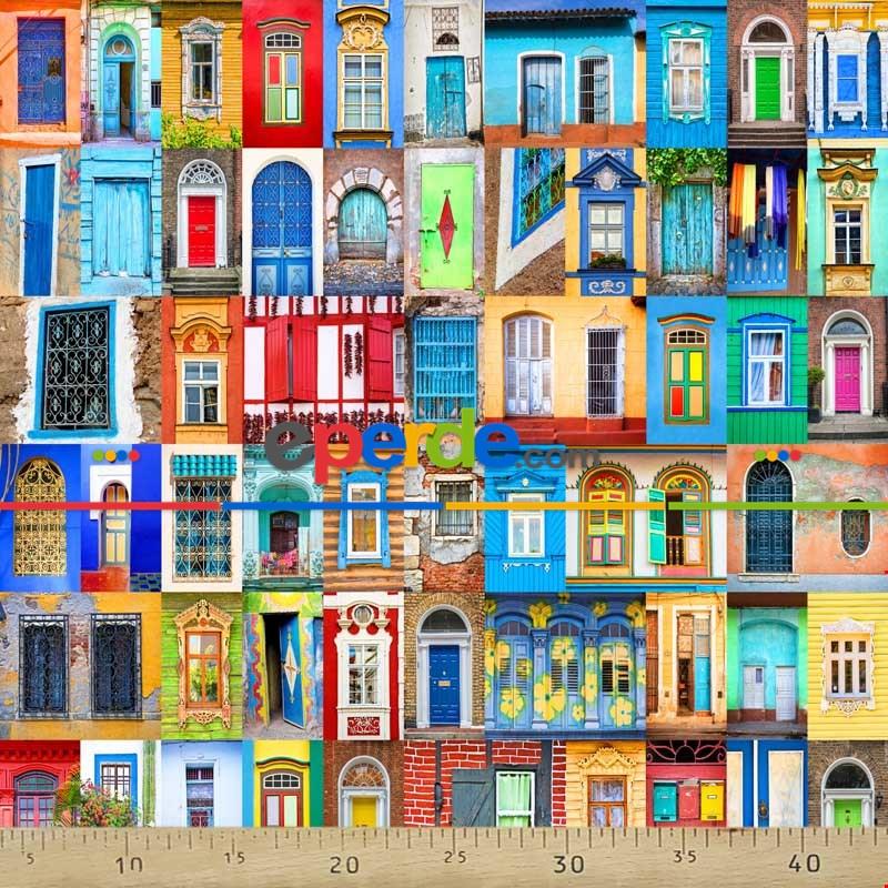 Renkli Kapı Pencere Desenli Fon Perde Evm1070 Kumaşı Kalındır Duck Bezi Değildir- Mavi-Turuncu-Kırmızı Açık- Çok Renkli 3