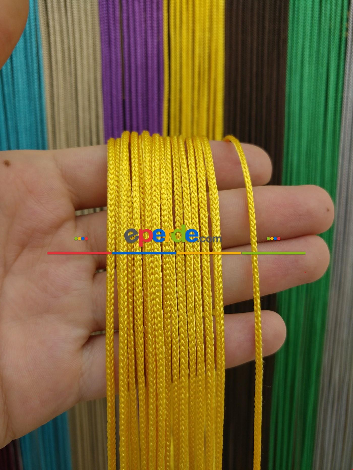 Krem Rengi İp Perde Kalın Zincir Serisi Sarı
