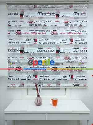 Mutfak Zebra Perde Desenli- Siyah Kırmızı