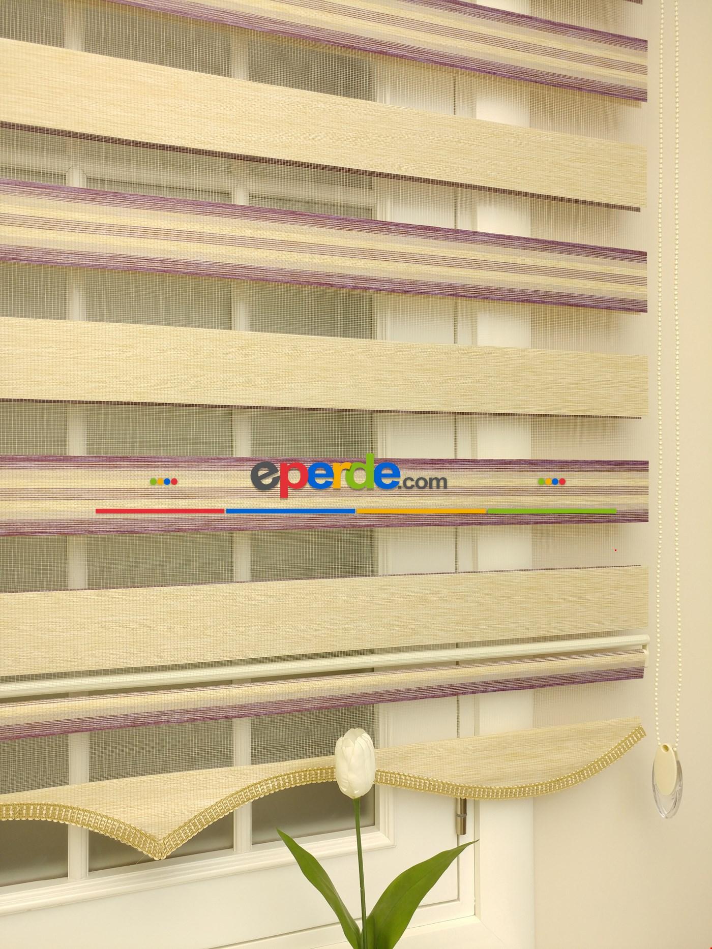 Zebra Perde - Caprice A.gri-antrazit Renk Bambu (geçiş Zeminli) Bej - Mor - Eflatun