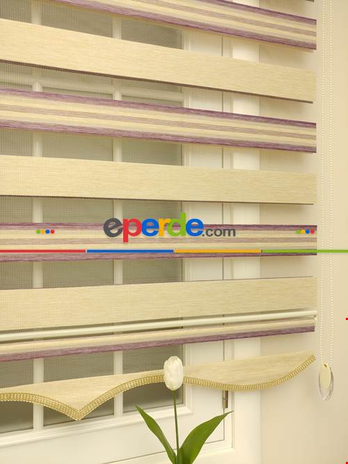 Zebra Perde - Caprice Bej-mor-eflatun Renk Bambu (geçiş Zeminli)- Bej-Mor-Eflatun