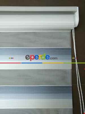 Salon Zebra Perde - Zebra Perde - Micro Pilise - Degrade Renk Geçişli Zebra Perde- Mavi Doymamış