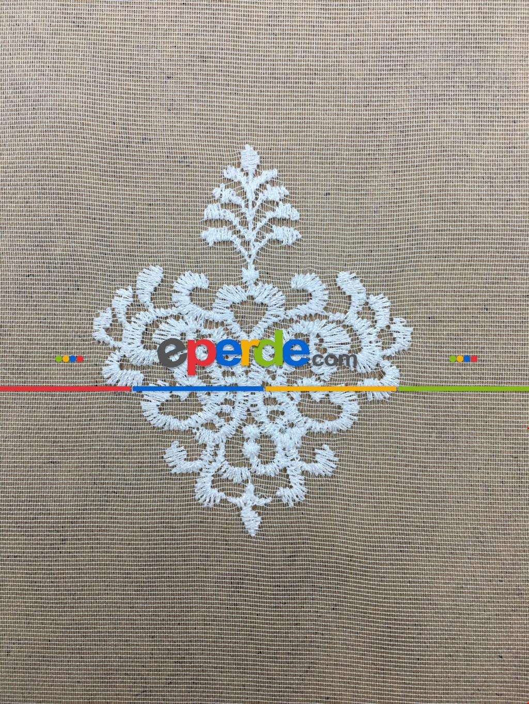 Beyaz Damask Desenli Nakış İşlemeli Tül Perde