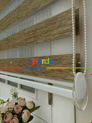 Salon Zebra - Fırsat!!! Lüx Bambu Zebra Perde Ahşap Görünümlü - Kahverengi- Kahve Venge