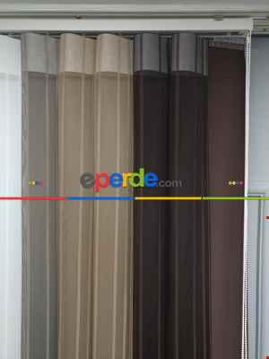 Lens Akıllı Dikey Tül Perde 118- Beyaz-kahve Koyu-vizon Rengi- Çok Renkli 2-taş Rengi