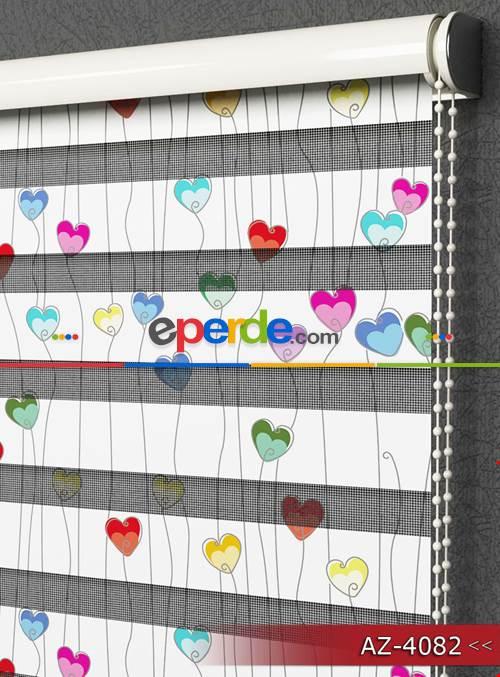 Bebek Odası Renkli Kalpler Desen Baskılı Zebra Perde