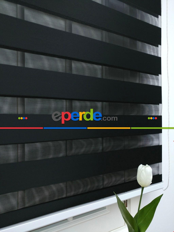Zebra Perde - Düz Zebra Perde- Siyah