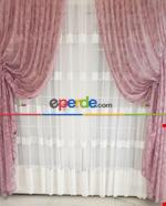 Tül Fon Gri Renk Fon Büzgülütasarım Yeni Moda Perde- Gri-füme-antrasit Gül Kurusu