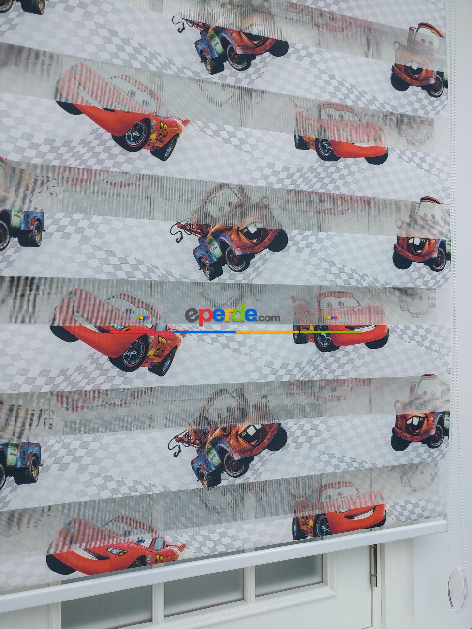 Mcqueen Arabalar Desenli Erkek Çocuk Odası Zebra Perde