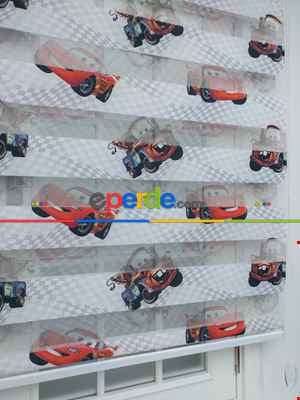 Çocuk Odası - Mcqueen Arabalar Desenli Zebra Perde-  Çok Renkli 2