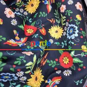 Çiçek Desenli Fon Perde Evm462 - Kumaşı Kalındır Duck Bezi Değildir.- Siyah-Kırmızı-Siyah Kırmızı-Çok Renkli