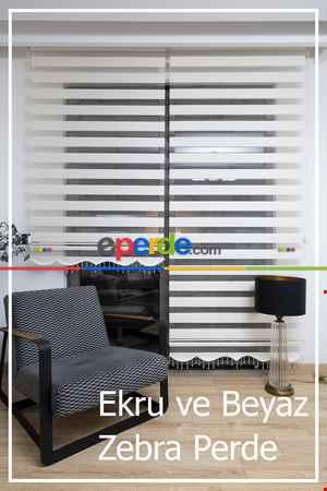 Yüzde 40 İndirimli Fiyat- Ekru Ve Beyaz Bambu Zebra Perde- Beyaz-ekru