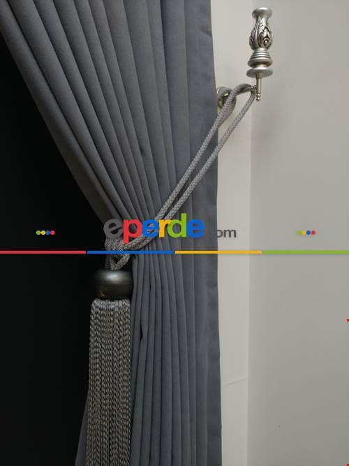 Gri Düz Renk Dökümlü Fon Perde (150)- Gri