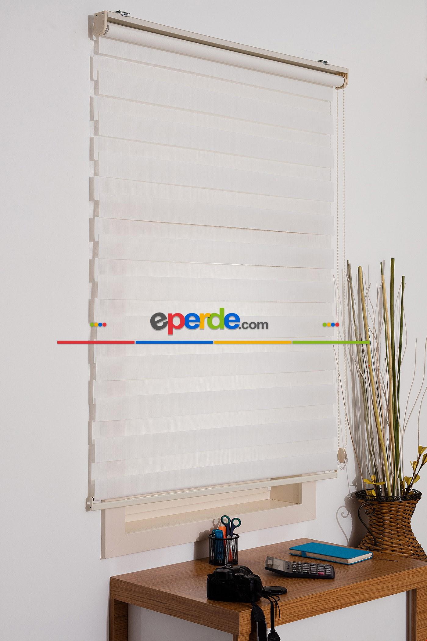 Fırsat!!! Kalın Bambu Lüx Ekru Zebra Perde ( Ücretsiz Etek Dilim )