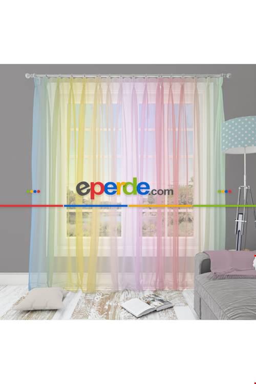 Çocuk Odası - Rainbow Gökkuşağı Desen Geçişli Keten Görünümlü Tül Perde
