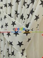 Yıldız Desenli Fon Perde ( Kalın Pamuklu Kumaş ) Füme