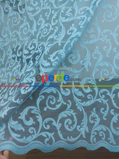 Tül Perde Ve Kruvaze Perde Şal Desenli ( Kdk Tül - Daha Kalın)- Mavi