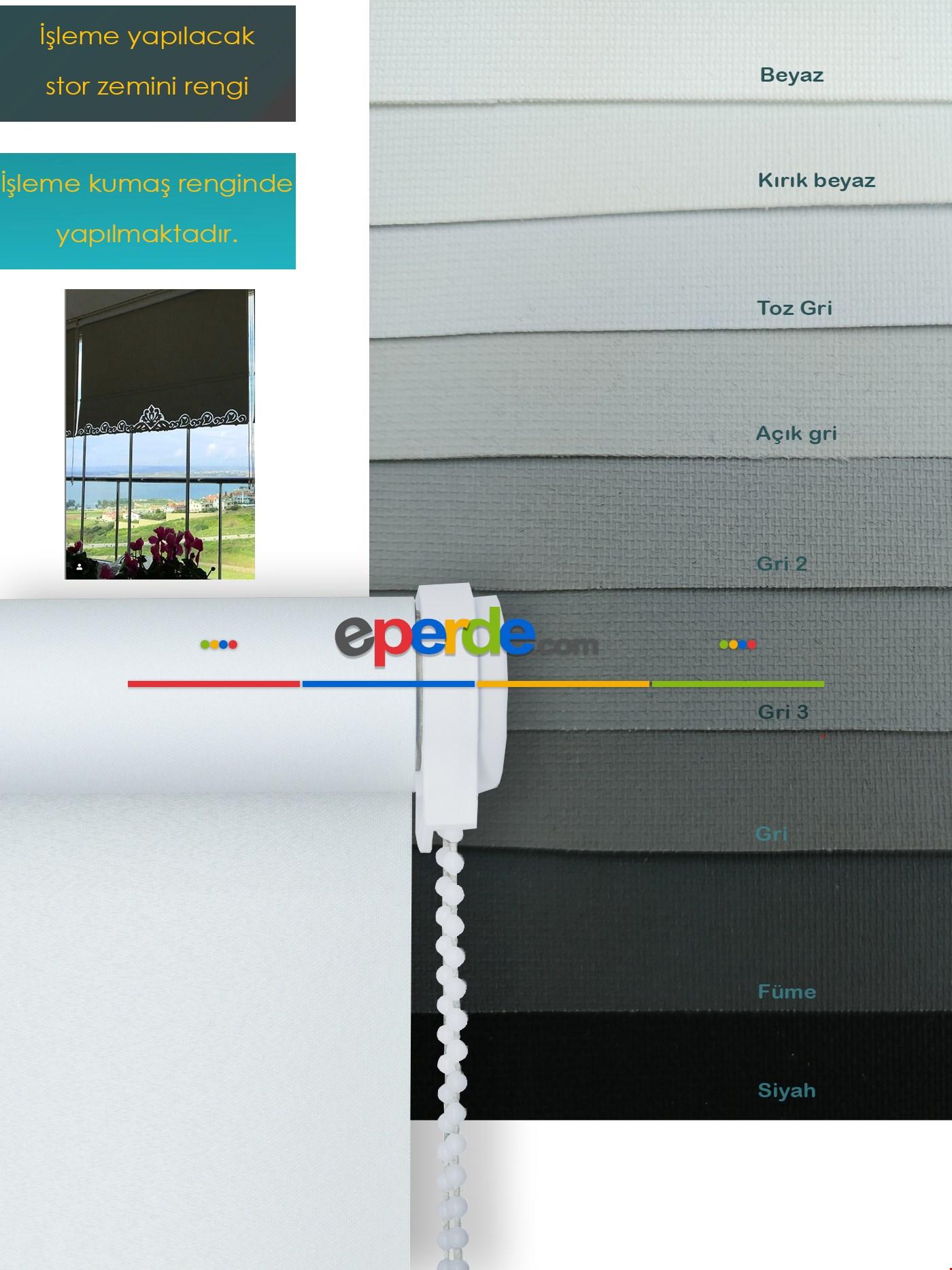 Nakış İşlemeli Stor Perde 33 Farklı Renk Seçeneği