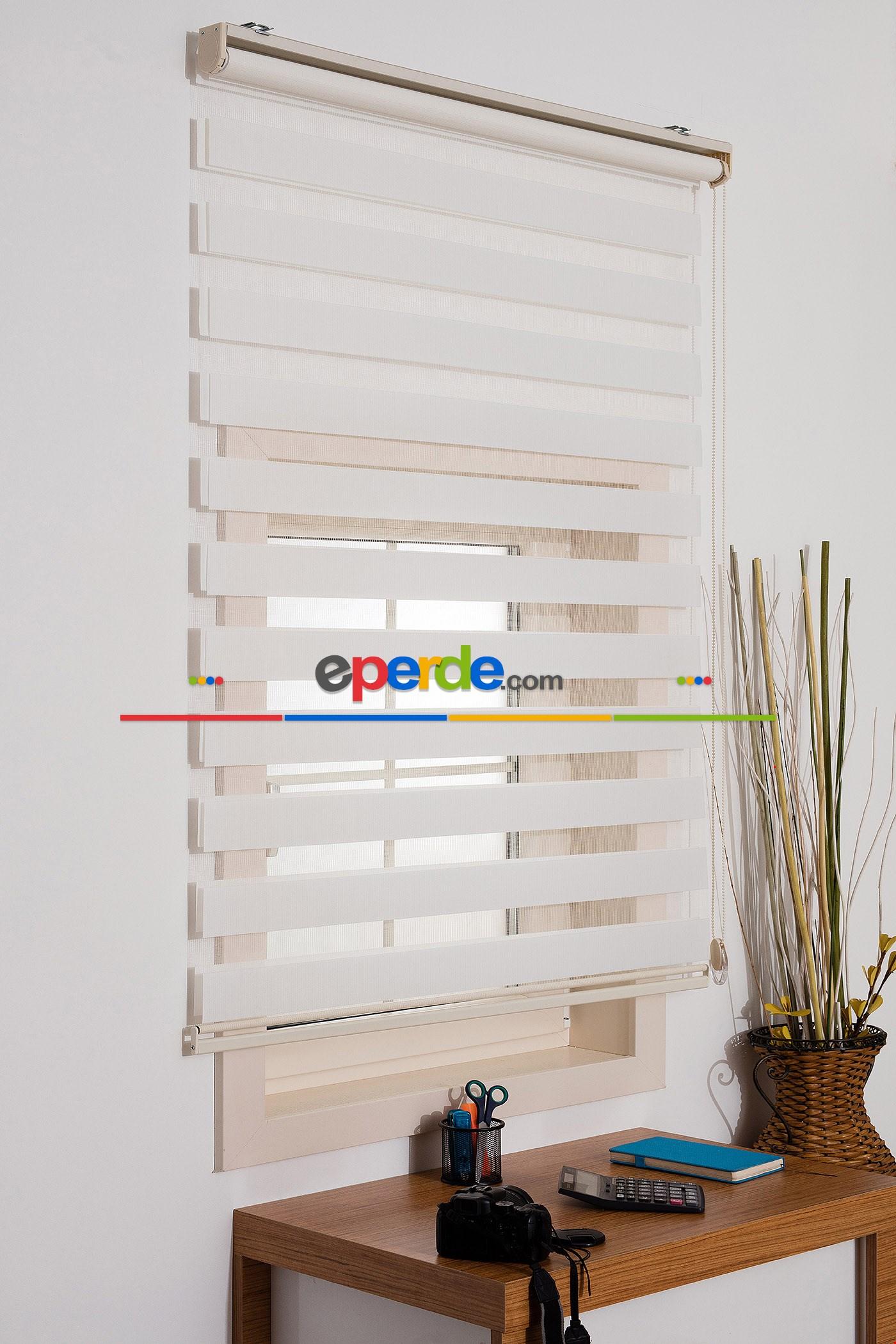 Fırsat!!! Kalın Bambu Lüx Ekru Zebra Perde ( Ücretsiz Etek Dilim ) Ekru