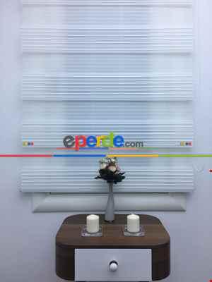 Salon Zebra Perde -İndirimli!!! Zebra Perde - Beyaz - Geniş Plise Model Ozel Fiyat- Beyaz