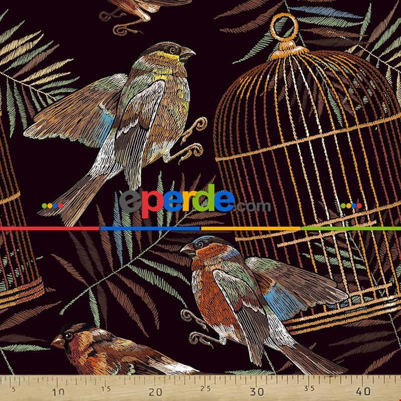Kuş Resimli Fon Perde Evm289 -h - Kumaşı Kalındır Duck Bezi Değildir.- Siyah-Sarı-Kahve-Çok Renkli