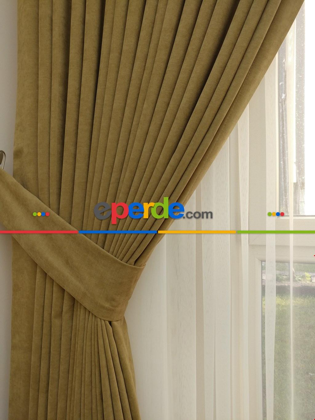 Deve Tüyü Rengi Düz Sade Fon Perde ( En 150cm Dökümlü Fon )- Açık Vizon