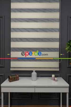 Salon Zebra Perde - Zebra Perde - Caprice Bej-haki-yeşil Renk Bambu (geçiş Zeminli)- Bej